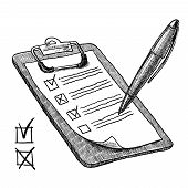 foto of clipboard  - Clipboard with check list questionnaire checkboxes and pen sketch vector illustration - JPG