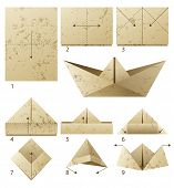 foto of paper craft  - 9 steps instruction how to make paper boat - JPG
