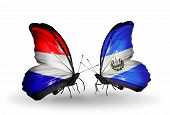 stock photo of holland flag  - Two butterflies with flags on wings as symbol of relations Holland and Salvador - JPG