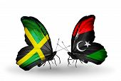 picture of libya  - Two butterflies with flags on wings as symbol of relations Jamaica and Libya - JPG