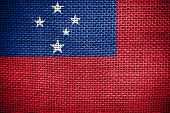 stock photo of samoa  - Texture of sackcloth with the image of the Samoa flag - JPG