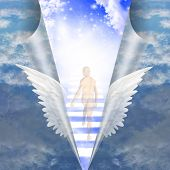 foto of stairway  - Man travels up stairway into heavens - JPG