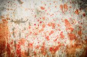 picture of concrete  - White concrete wall with blood splatters on the sides - JPG