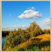 image of steppes  - rural landscape steppe river and clouds on the sky background - JPG