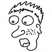 foto of wonderful  - Wondering man in handwritten sketch by black line - JPG