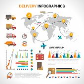 image of supply chain  - Logistic chain shipping freight service supply delivery infographics set with charts and world map vector illustration - JPG