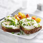 foto of avocado  - toast with poached eggs - JPG
