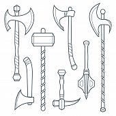 picture of mace  - vector dark gray outline cold medieval weapons set with ax axe hammer mace halberd battle poleax - JPG