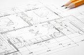 pic of interior sketch  - Construction blueprints planning drawings on the worktable and architectural instruments - JPG