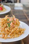 pic of crispy rice  - fried crispy beaten egg omelette served with steamed rice - JPG