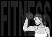 pic of grayscale  - Background with a woman are training with a dumbbell - JPG