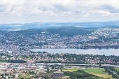 picture of zurich  - Panorama view of Zurich city and lake on top of Uetliberg Zurich Switzerland - JPG