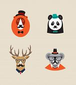 pic of panda  - Collection of hipster cartoon character animals lion  - JPG