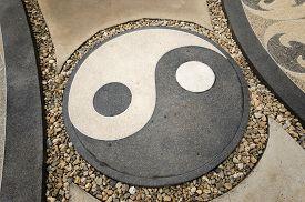 stock photo of taoism  - Symbol Yin and Yang representing Good and Bad Of Taoism - JPG