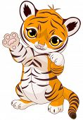 stock photo of cute tiger  - Illustration of cute playful tiger cub waving hello - JPG