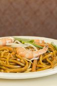 stock photo of chinese wok  - Authentic Chinese Shrimp lo mein noodles at a restaurant - JPG