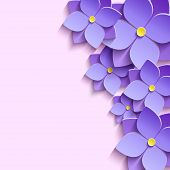 picture of life event  - Beautiful modern creative background with stylized purple summer 3d flowers violets - JPG