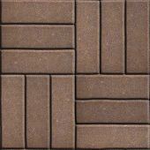 picture of paving  - Brown Paving Slabs of Rectangles Laid Out on Three Pieces Perpendicular to Each Other - JPG