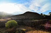 stock photo of pyramid  - Ancient Guanche Guimar Pyramids in Tenerife Island - JPG