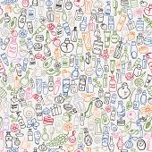 stock photo of cosmetic products  - doodle hand drawn cosmetic products seamless background - JPG
