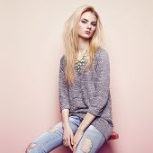 foto of blouse  - Fashion portrait of beautiful young woman with blond hair - JPG