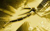 image of neuron  - Digital illustration of  neuron  in colour  background - JPG