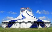 stock photo of circus tent  - Circus tent in a field on a summer day - JPG