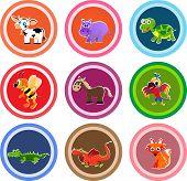 picture of crocodiles  - Set of nine animal stickers - JPG