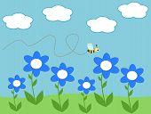 image of bee cartoon  - bee and daisy flowers cute cartoon illustration - JPG