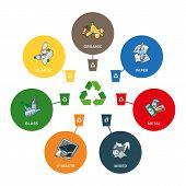 foto of recycling bin  - Illustration of trash categories with organic paper plastic glass metal e - JPG