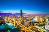 stock photo of landscape architecture  - Landscape of river in a night Bangkok city - JPG