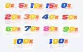 image of zero  - Set of images discounts from zero to one hundred percent - JPG