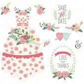 stock photo of dress-making  - Bride Floral Wedding Dress Set - JPG