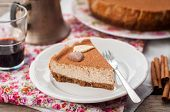 picture of cheesecake  - A Slice of Spiced Coffee Cheesecake Dusted with Cocoa Powder - JPG