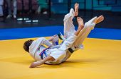 stock photo of judo  - Judo is a Japanese martial art philosophy and sports battle without weapons created at the end of the 19th century the on the basis of the Japanese martial art of Jujitsu Jigoro Kano