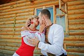 stock photo of traditional dress  - Wedding beautiful couple in traditional dress Wedding beautiful couple in traditional dress happy - JPG