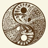 foto of yin  - Yin yang symbol asian decoration element Pattern on white Background - JPG
