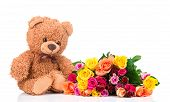 picture of bunch roses  - Bunch of mix color roses and a teddy bear on white background  - JPG