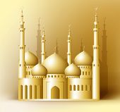 stock photo of masjid  - 3d Realistic Golden Detailed Mosque or Masjid Reflected for Islam and Ramadan Celebrations Background - JPG