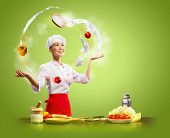 picture of juggler  - Juggler chef play with some ingredients and kitchen tools - JPG