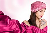image of turban  - beautiful stylish woman in oriental style in turban - JPG