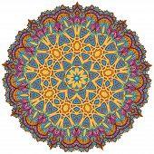 stock photo of mehendi  - Ornament color card with mandala - JPG