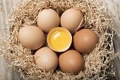 image of yolk  - group of eggs with one opened with yolk in straw basket on wooden table - JPG