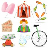 stock photo of circus clown  - Vector Circus Icons including clown - JPG