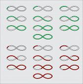 stock photo of indications  - Progress bars in the form of a symbol of infinity - JPG