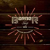 pic of barbershop  - Barbershop badges logos and labels for any use on wooden background texture - JPG