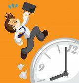 stock photo of running-late  - Cartoon of running office worker on clock - JPG