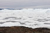 stock photo of arctic landscape  - Arctic landscape in Greenland around Disko Island with icebergs - JPG