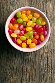 image of jelly beans  - top view of jelly beans in bowl - JPG