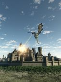 image of fiery  - Fantasy illustration of a dragon making a fiery attack on a Medieval walled city - JPG